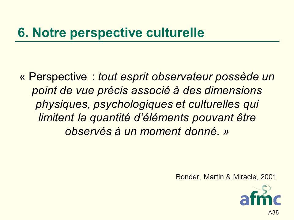 A35 6. Notre perspective culturelle « Perspective : tout esprit observateur possède un point de vue précis associé à des dimensions physiques, psychol