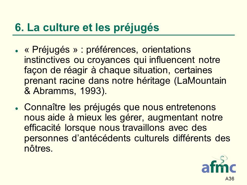 A36 6. La culture et les préjugés « Préjugés » : préférences, orientations instinctives ou croyances qui influencent notre façon de réagir à chaque si