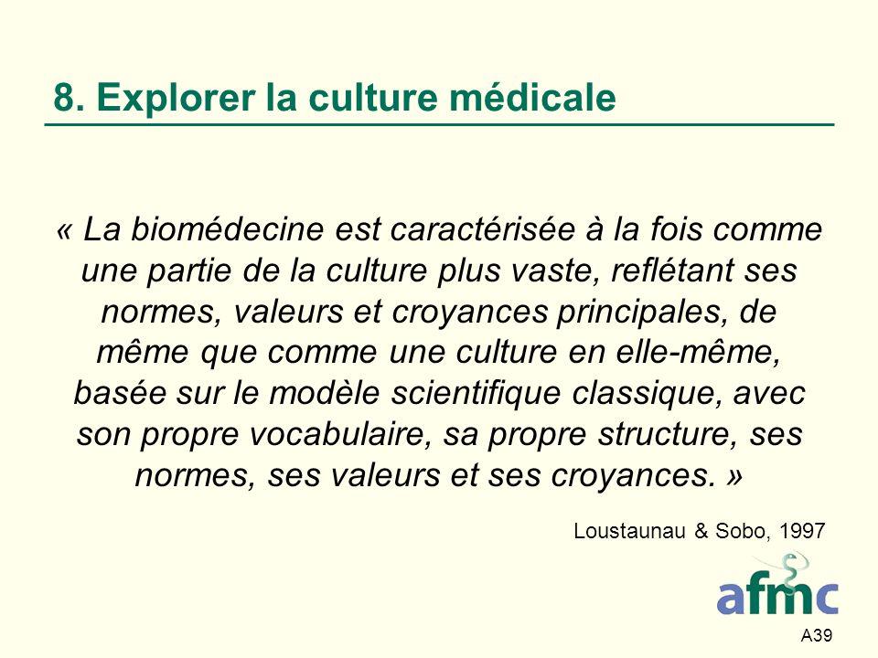 A39 8. Explorer la culture médicale « La biomédecine est caractérisée à la fois comme une partie de la culture plus vaste, reflétant ses normes, valeu