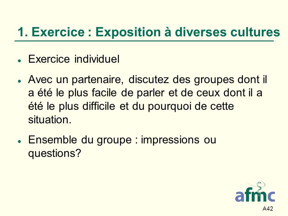 A42 1. Exercice : Exposition à diverses cultures Exercice individuel Avec un partenaire, discutez des groupes dont il a été le plus facile de parler e