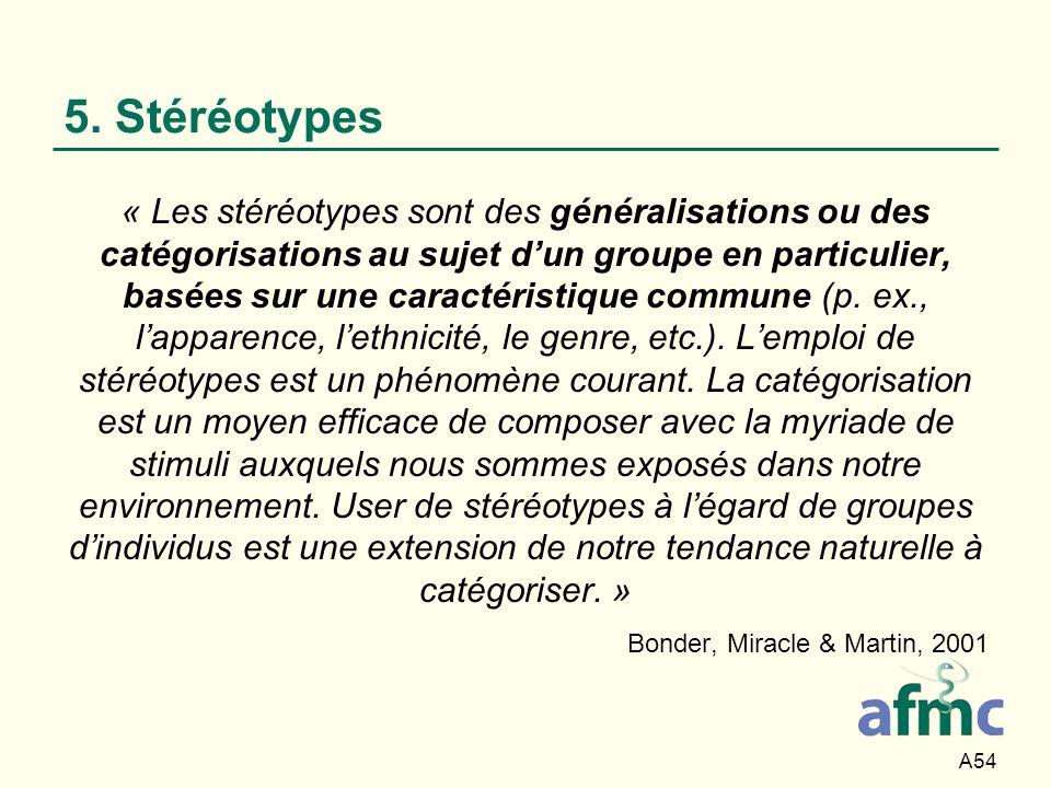 A54 5. Stéréotypes « Les stéréotypes sont des généralisations ou des catégorisations au sujet dun groupe en particulier, basées sur une caractéristiqu