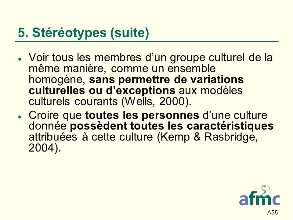A55 5. Stéréotypes (suite) Voir tous les membres dun groupe culturel de la même manière, comme un ensemble homogène, sans permettre de variations cult