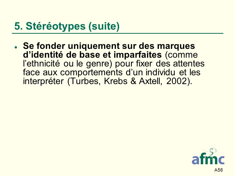 A56 5. Stéréotypes (suite) Se fonder uniquement sur des marques didentité de base et imparfaites (comme lethnicité ou le genre) pour fixer des attente