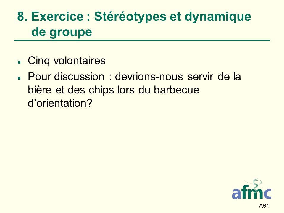 A61 8. Exercice : Stéréotypes et dynamique de groupe Cinq volontaires Pour discussion : devrions-nous servir de la bière et des chips lors du barbecue