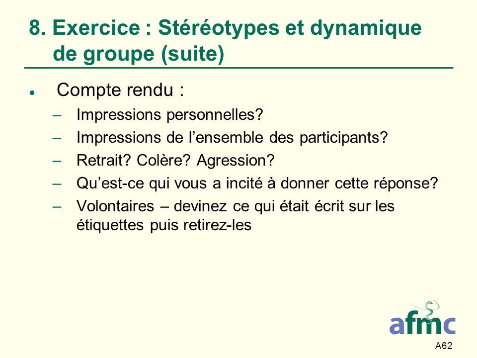 A62 8. Exercice : Stéréotypes et dynamique de groupe (suite) Compte rendu : –Impressions personnelles? –Impressions de lensemble des participants? –Re