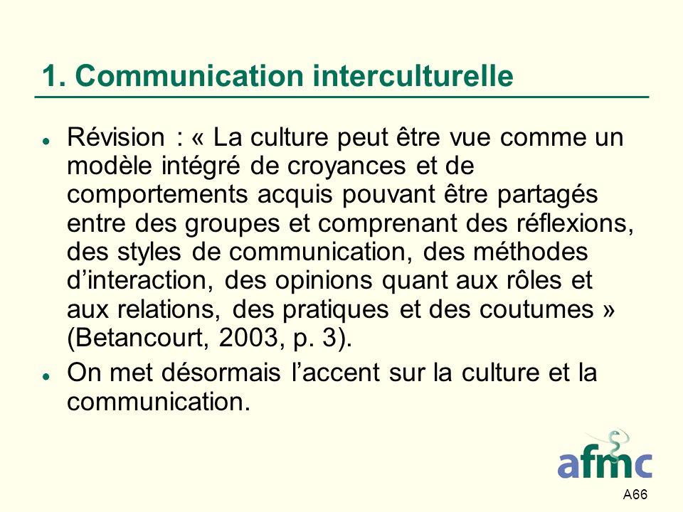 A66 1. Communication interculturelle Révision : « La culture peut être vue comme un modèle intégré de croyances et de comportements acquis pouvant êtr