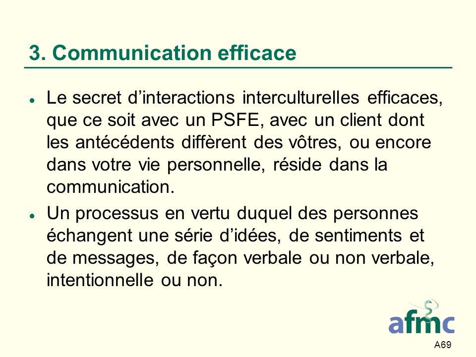 A69 3. Communication efficace Le secret dinteractions interculturelles efficaces, que ce soit avec un PSFE, avec un client dont les antécédents diffèr