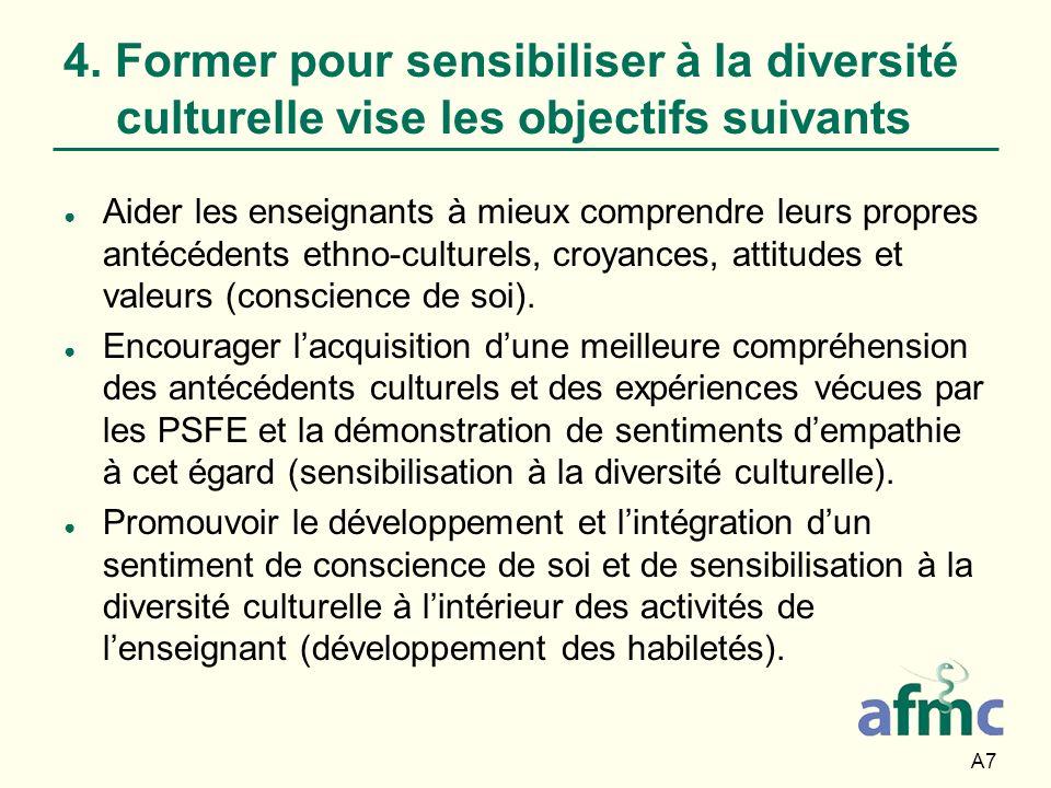 A7 4. Former pour sensibiliser à la diversité culturelle vise les objectifs suivants Aider les enseignants à mieux comprendre leurs propres antécédent