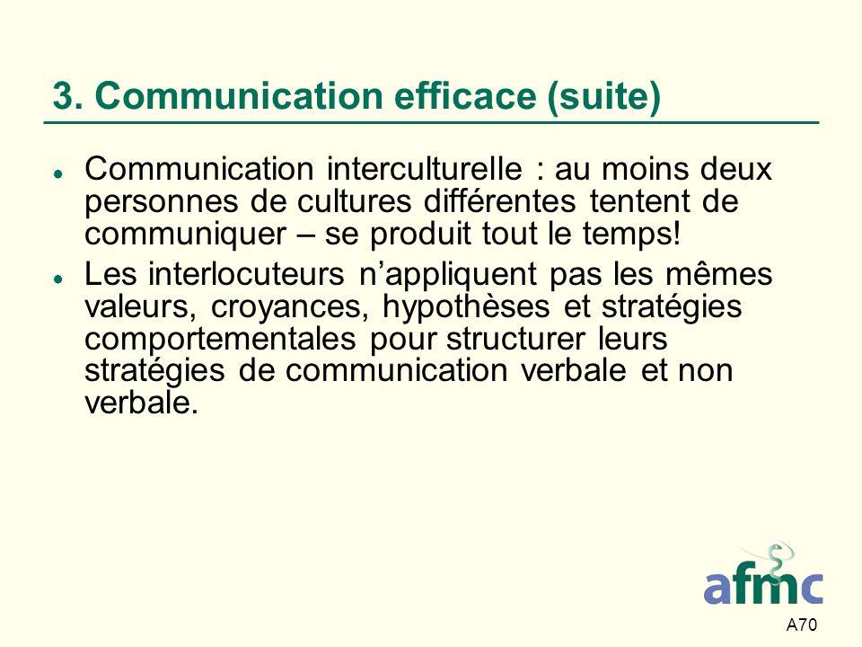A70 3. Communication efficace (suite) Communication interculturelle : au moins deux personnes de cultures différentes tentent de communiquer – se prod