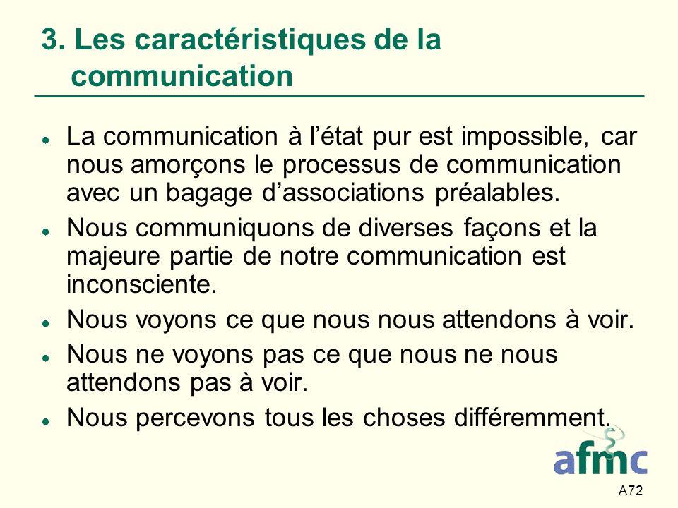 A72 3. Les caractéristiques de la communication La communication à létat pur est impossible, car nous amorçons le processus de communication avec un b