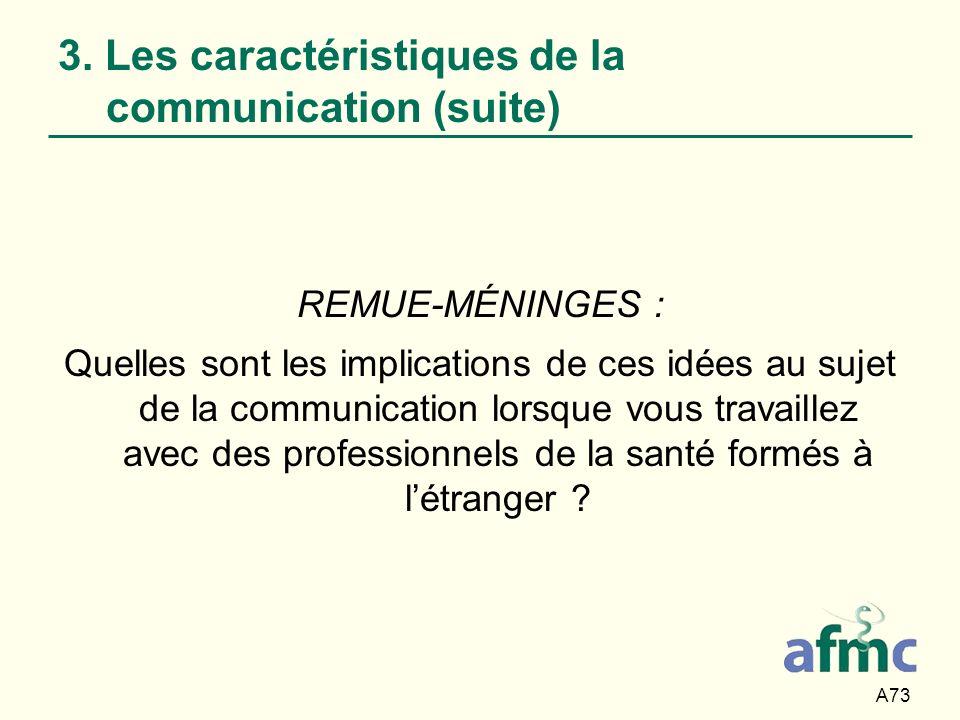 A73 3. Les caractéristiques de la communication (suite) REMUE-MÉNINGES : Quelles sont les implications de ces idées au sujet de la communication lorsq
