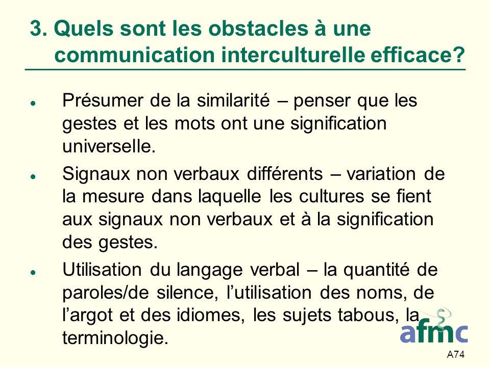 A74 3. Quels sont les obstacles à une communication interculturelle efficace? Présumer de la similarité – penser que les gestes et les mots ont une si