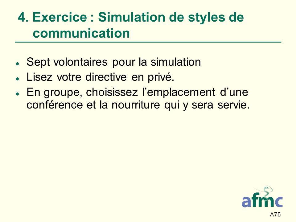 A75 4. Exercice : Simulation de styles de communication Sept volontaires pour la simulation Lisez votre directive en privé. En groupe, choisissez lemp