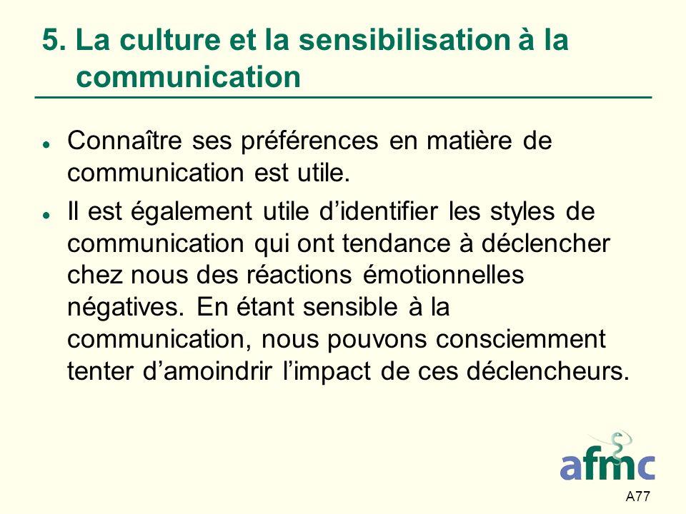 A77 5. La culture et la sensibilisation à la communication Connaître ses préférences en matière de communication est utile. Il est également utile did