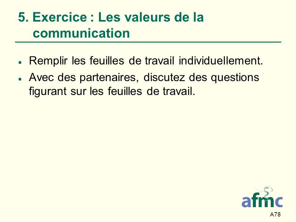 A78 5. Exercice : Les valeurs de la communication Remplir les feuilles de travail individuellement. Avec des partenaires, discutez des questions figur