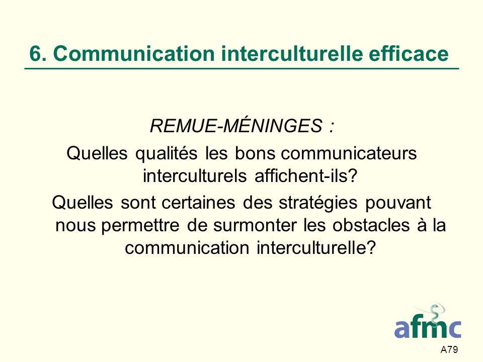 A79 6. Communication interculturelle efficace REMUE-MÉNINGES : Quelles qualités les bons communicateurs interculturels affichent-ils? Quelles sont cer