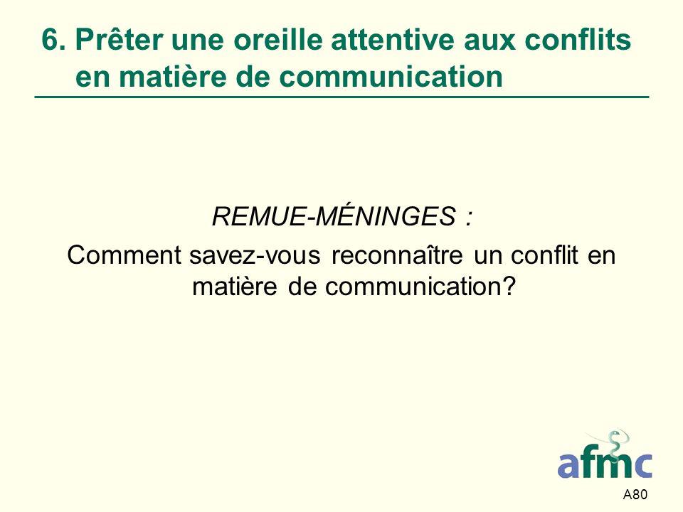 A80 6. Prêter une oreille attentive aux conflits en matière de communication REMUE-MÉNINGES : Comment savez-vous reconnaître un conflit en matière de