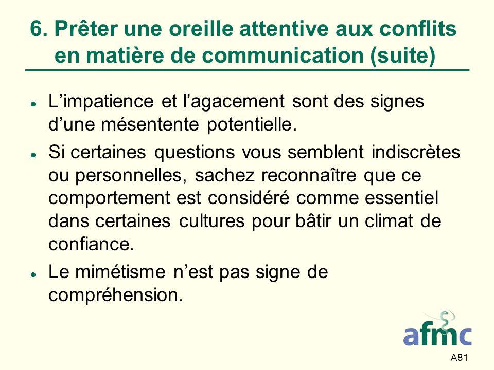 A81 6. Prêter une oreille attentive aux conflits en matière de communication (suite) Limpatience et lagacement sont des signes dune mésentente potenti