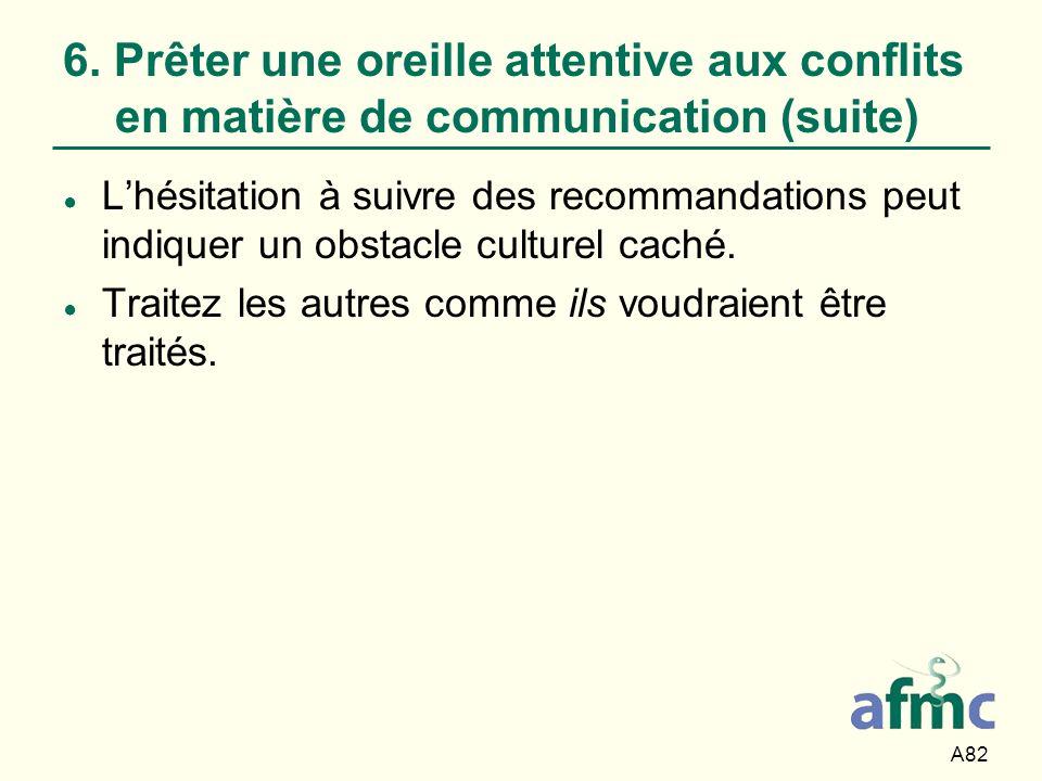 A82 6. Prêter une oreille attentive aux conflits en matière de communication (suite) Lhésitation à suivre des recommandations peut indiquer un obstacl