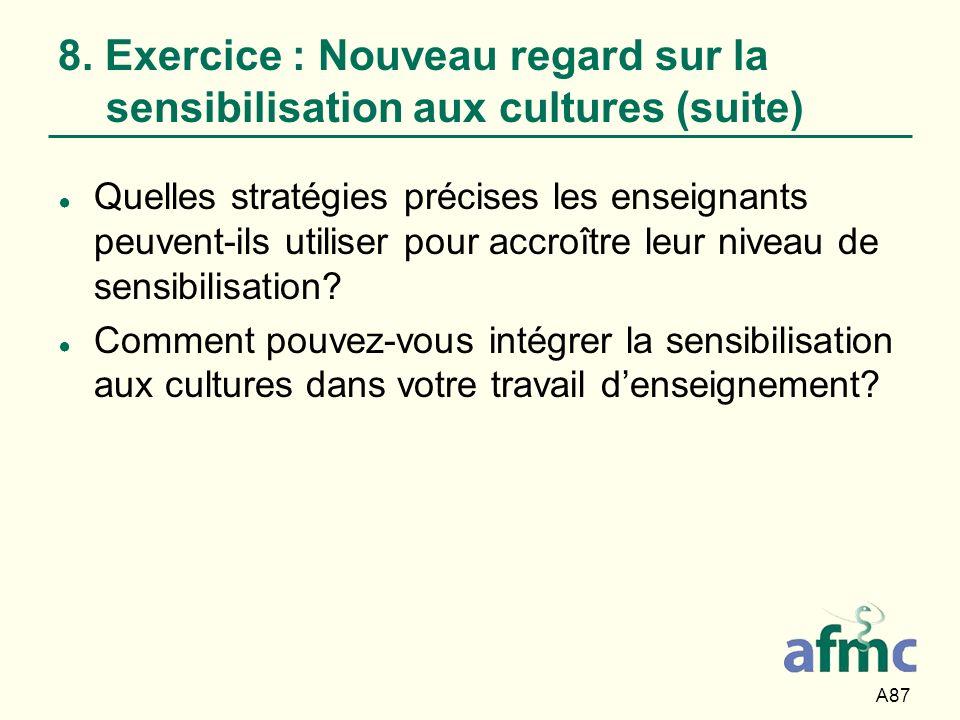 A87 8. Exercice : Nouveau regard sur la sensibilisation aux cultures (suite) Quelles stratégies précises les enseignants peuvent-ils utiliser pour acc