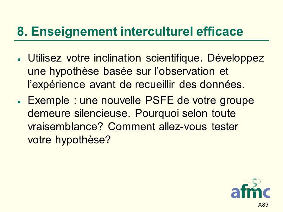 A89 8. Enseignement interculturel efficace Utilisez votre inclination scientifique. Développez une hypothèse basée sur lobservation et lexpérience ava