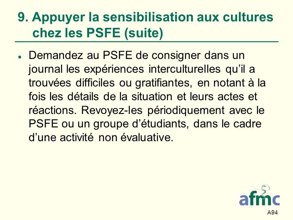 A94 9. Appuyer la sensibilisation aux cultures chez les PSFE (suite) Demandez au PSFE de consigner dans un journal les expériences interculturelles qu