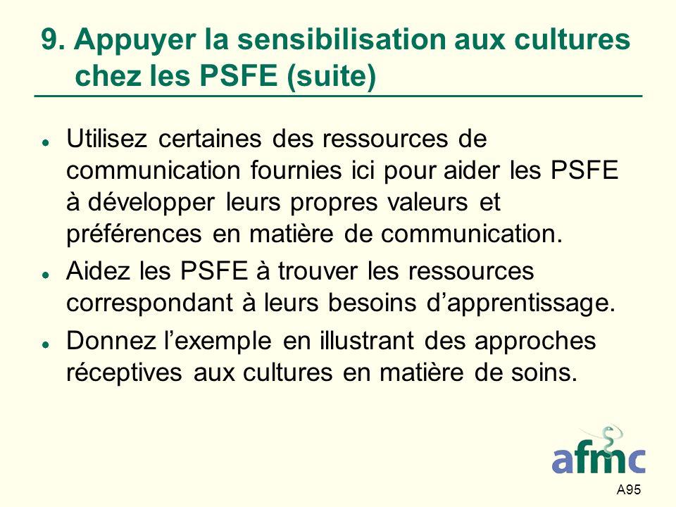 A95 9. Appuyer la sensibilisation aux cultures chez les PSFE (suite) Utilisez certaines des ressources de communication fournies ici pour aider les PS