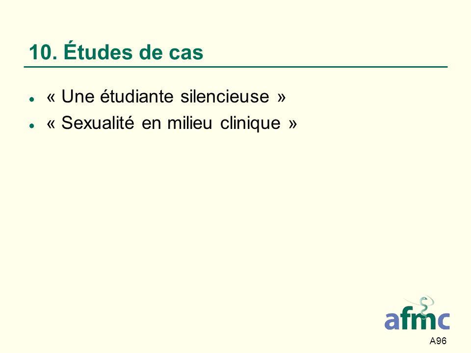 A96 10. Études de cas « Une étudiante silencieuse » « Sexualité en milieu clinique »