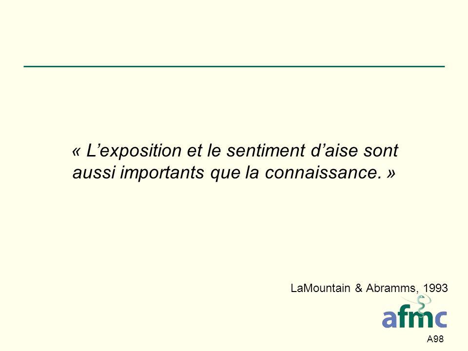 A98 LaMountain & Abramms, 1993 « Lexposition et le sentiment daise sont aussi importants que la connaissance. »