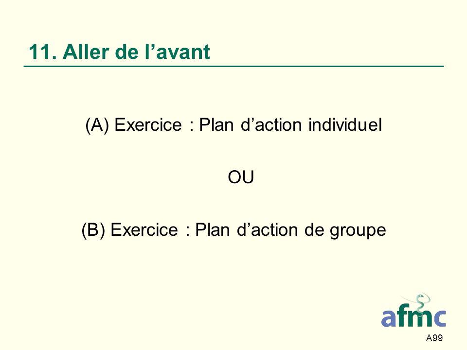 A99 11. Aller de lavant (A) Exercice : Plan daction individuel OU (B) Exercice : Plan daction de groupe