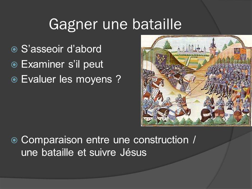 Gagner une bataille Sasseoir dabord Examiner sil peut Evaluer les moyens ? Comparaison entre une construction / une bataille et suivre Jésus
