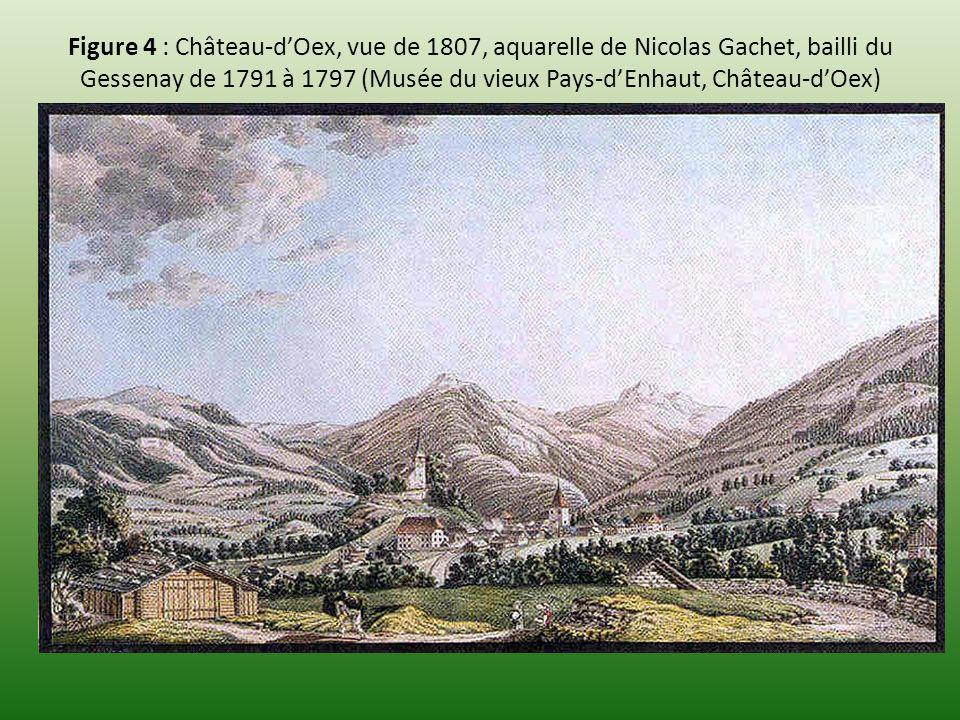 Figure 4 : Château-dOex, vue de 1807, aquarelle de Nicolas Gachet, bailli du Gessenay de 1791 à 1797 (Musée du vieux Pays-dEnhaut, Château-dOex)