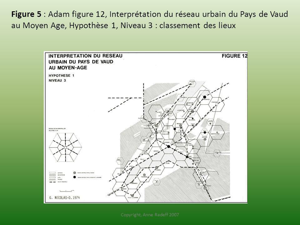 Figure 5 : Adam figure 12, Interprétation du réseau urbain du Pays de Vaud au Moyen Age, Hypothèse 1, Niveau 3 : classement des lieux Copyright, Anne