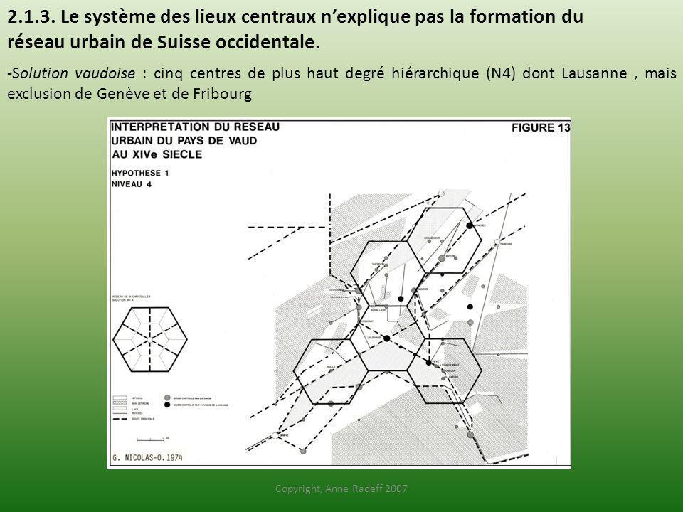 2.1.3. Le système des lieux centraux nexplique pas la formation du réseau urbain de Suisse occidentale. -Solution vaudoise : cinq centres de plus haut