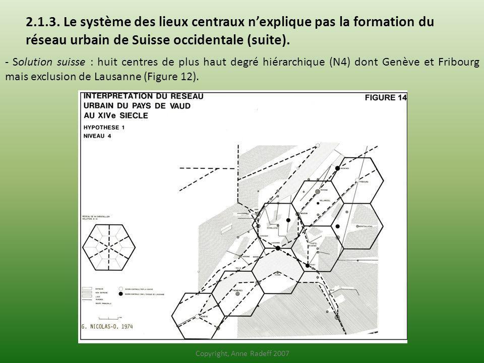 2.1.3. Le système des lieux centraux nexplique pas la formation du réseau urbain de Suisse occidentale (suite). - Solution suisse : huit centres de pl