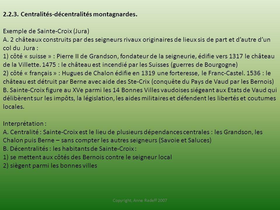 2.2.3. Centralités-décentralités montagnardes. Exemple de Sainte-Croix (Jura) A. 2 châteaux construits par des seigneurs rivaux originaires de lieux s