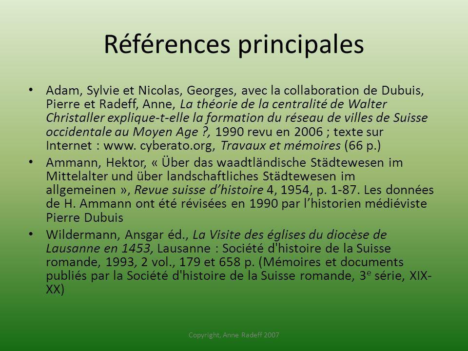 Références principales Adam, Sylvie et Nicolas, Georges, avec la collaboration de Dubuis, Pierre et Radeff, Anne, La théorie de la centralité de Walte