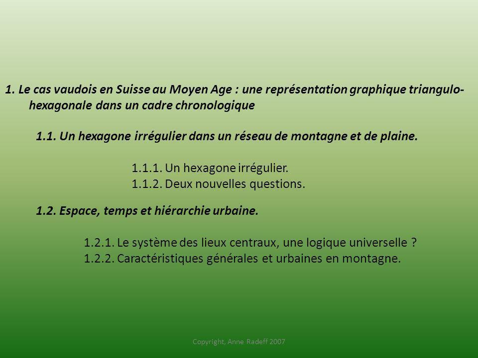 1. Le cas vaudois en Suisse au Moyen Age : une représentation graphique triangulo- hexagonale dans un cadre chronologique 1.1. Un hexagone irrégulier