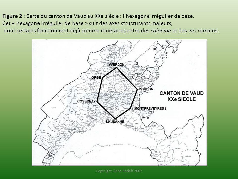 Figure 2 : Carte du canton de Vaud au XXe siècle : lhexagone irrégulier de base. Cet « hexagone irrégulier de base » suit des axes structurants majeur