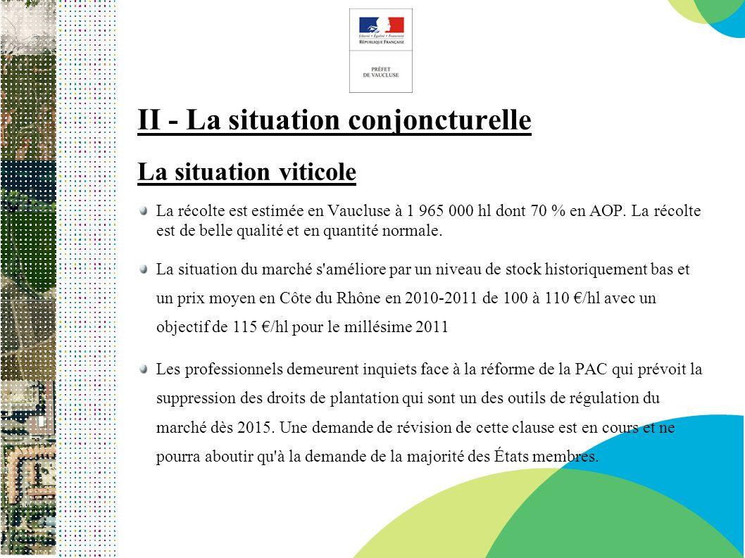 II - La situation conjoncturelle La situation viticole La récolte est estimée en Vaucluse à 1 965 000 hl dont 70 % en AOP. La récolte est de belle qua