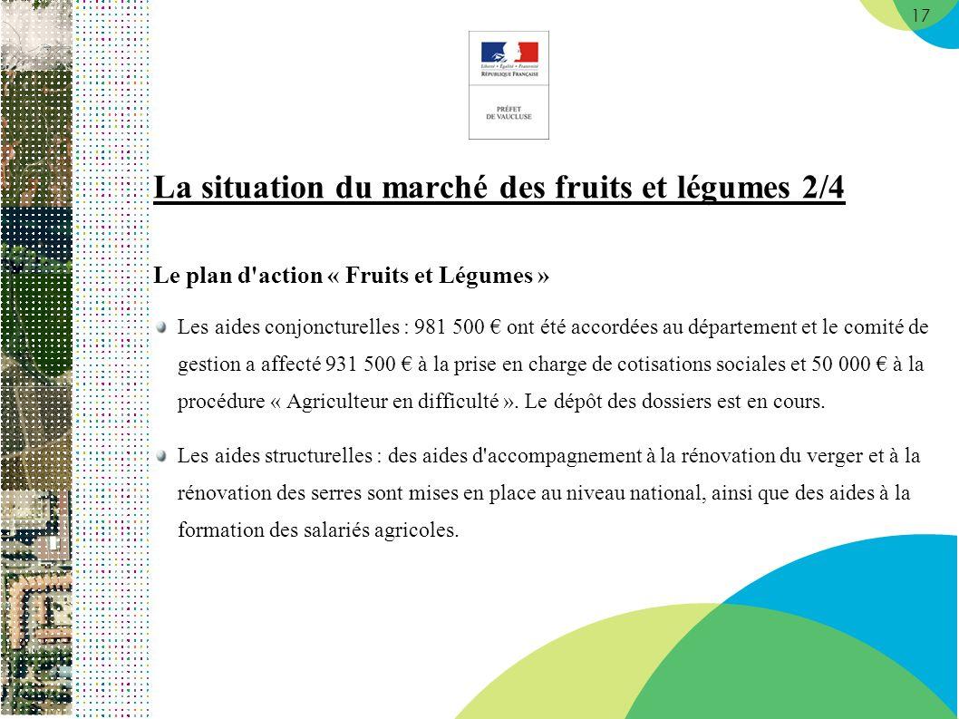 17 La situation du marché des fruits et légumes 2/4 Le plan d'action « Fruits et Légumes » Les aides conjoncturelles : 981 500 ont été accordées au dé