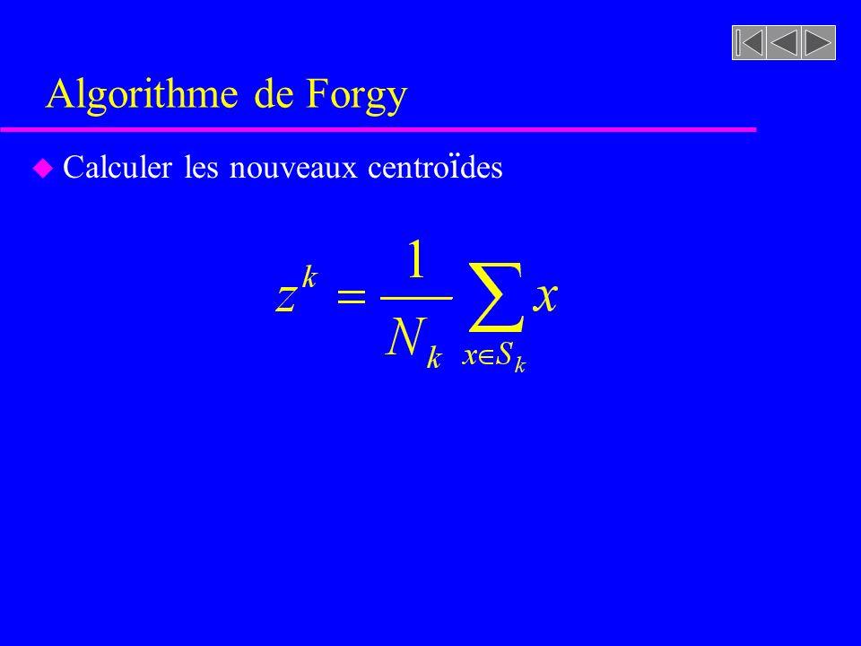 Algorithme de Forgy u Calculer les nouveaux centro ï des