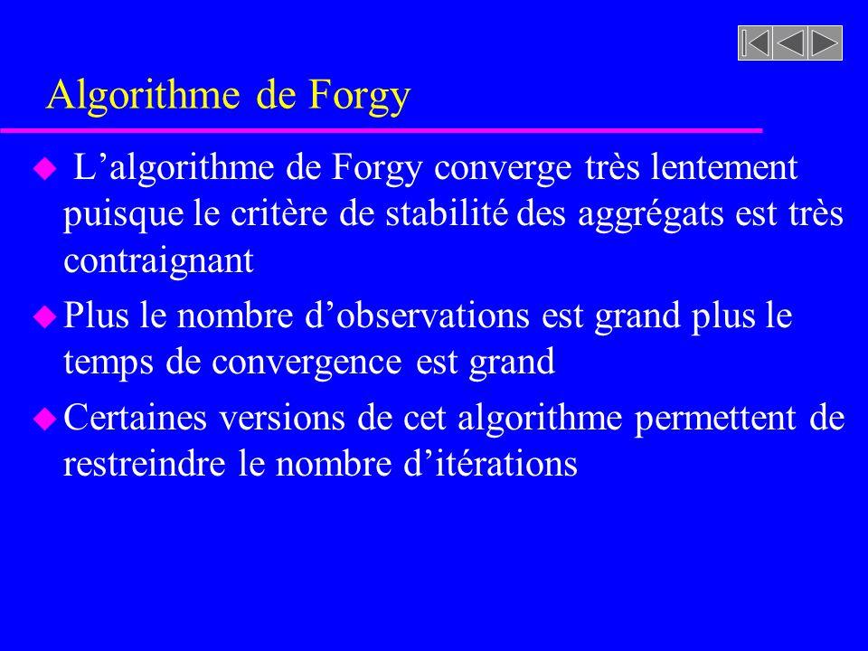 Algorithme de Forgy u Lalgorithme de Forgy converge très lentement puisque le critère de stabilité des aggrégats est très contraignant u Plus le nombre dobservations est grand plus le temps de convergence est grand u Certaines versions de cet algorithme permettent de restreindre le nombre ditérations