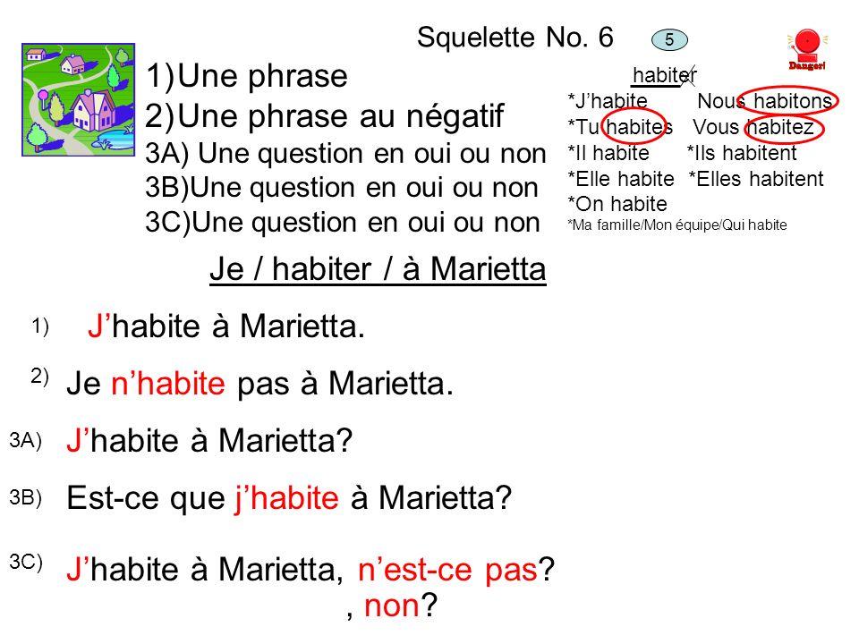 Squelette No. 6 1)Une phrase 2)Une phrase au négatif 3A) Une question en oui ou non 3B)Une question en oui ou non 3C)Une question en oui ou non Je / h