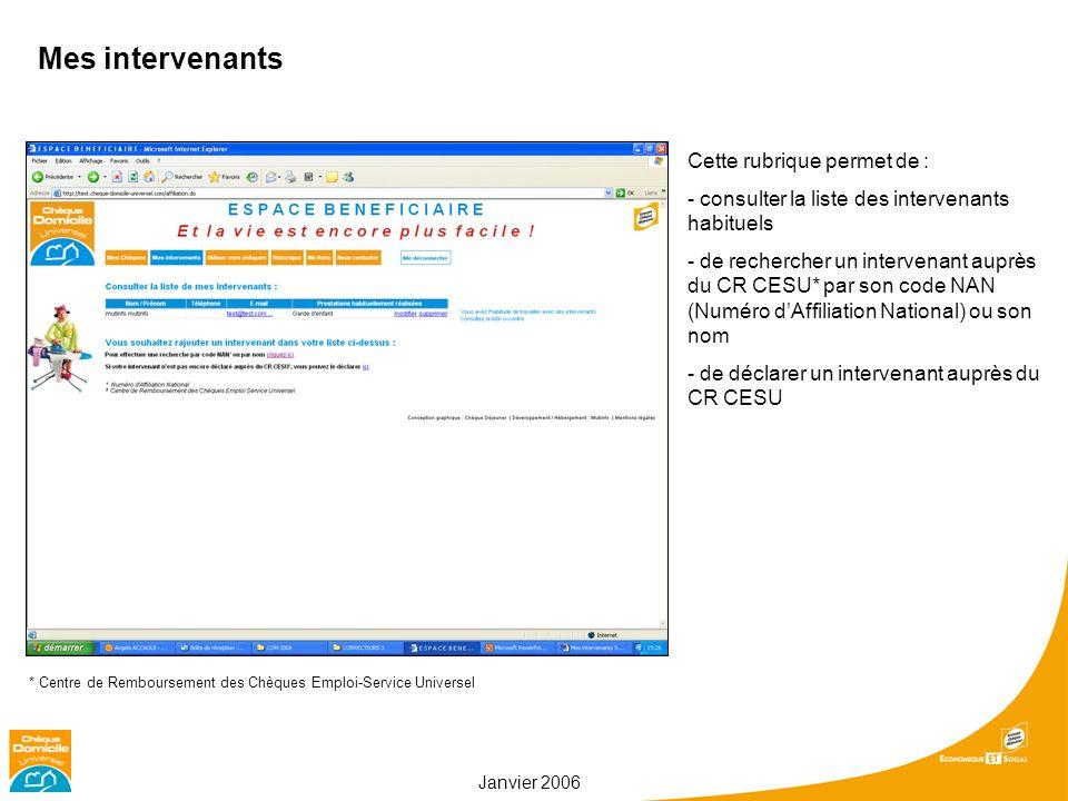 Janvier 2006 Mes intervenants Cette rubrique permet de : - consulter la liste des intervenants habituels - de rechercher un intervenant auprès du CR C