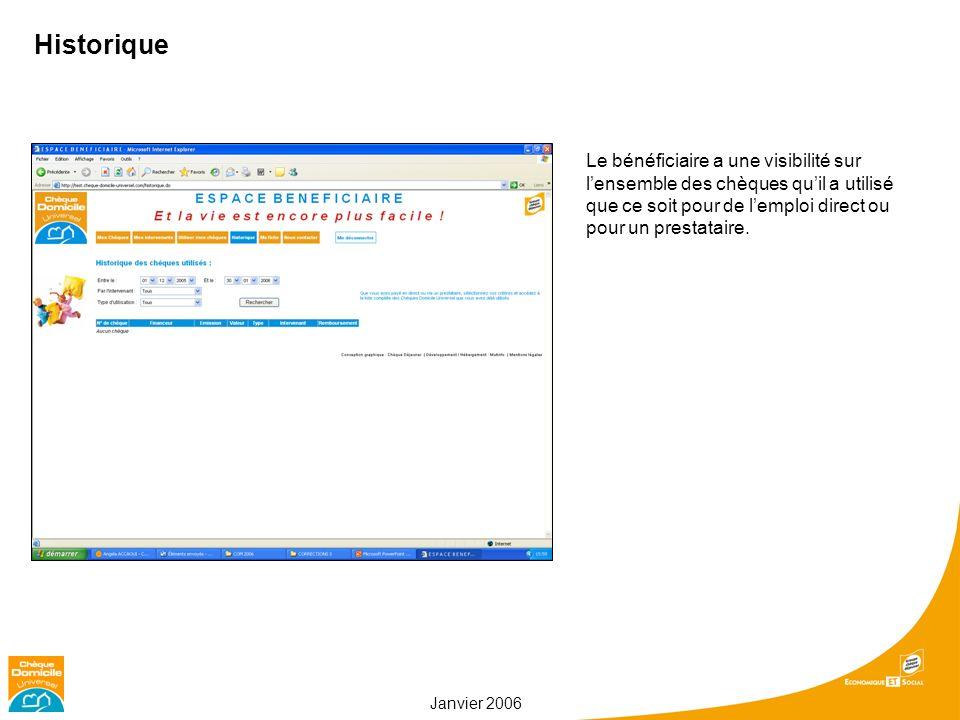 Janvier 2006 Historique Le bénéficiaire a une visibilité sur lensemble des chèques quil a utilisé que ce soit pour de lemploi direct ou pour un presta