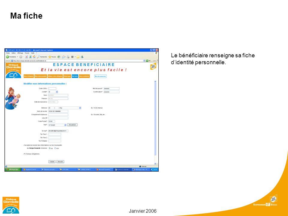 Janvier 2006 Ma fiche Le bénéficiaire renseigne sa fiche didentité personnelle.