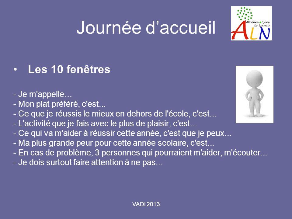 VADI 2013 Journée daccueil Les 10 fenêtres - Je m appelle… - Mon plat préféré, c est...