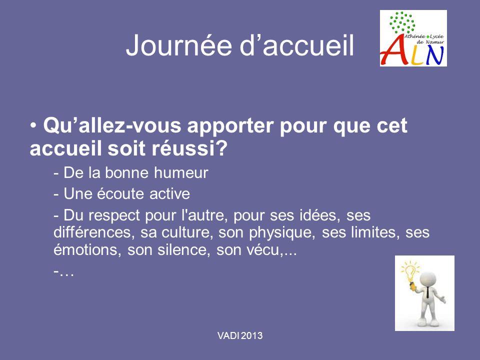 VADI 2013 Journée daccueil Quallez-vous apporter pour que cet accueil soit réussi.