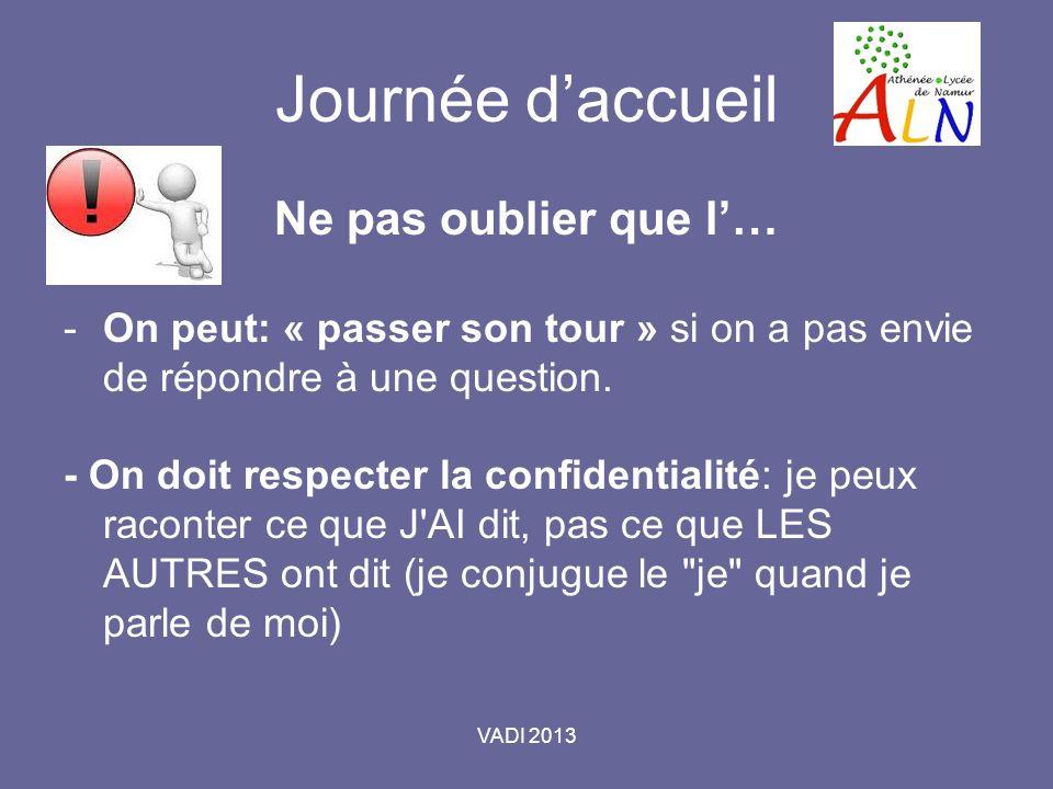 VADI 2013 Journée daccueil Ne pas oublier que l… -On peut: « passer son tour » si on a pas envie de répondre à une question.